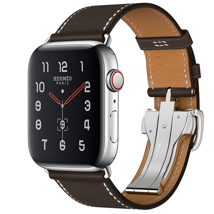 Apple Watch Hermes Series 5 44mm Ebene Leather Single Tour Deployment Buckle