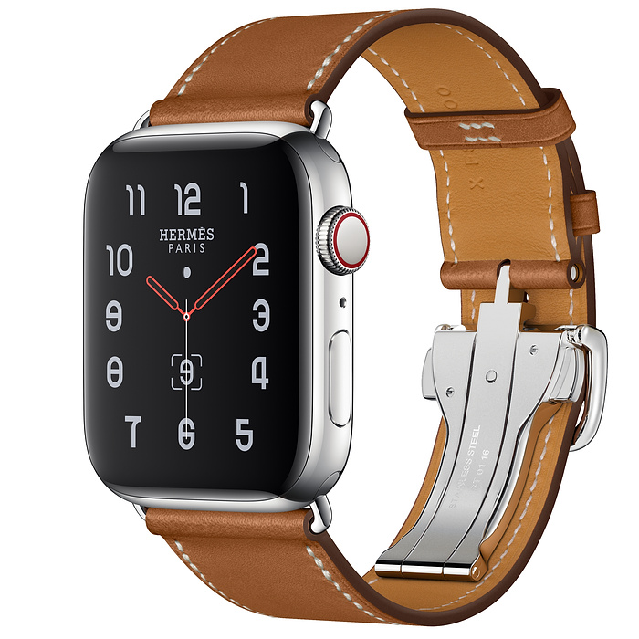 Apple Watch Hermes Series 5 44mm Fauve Leather Single Tour Deployment Buckle