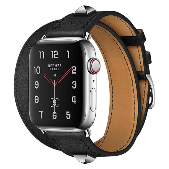Apple Watch Hermes Series 5 40mm Medor Noir Swift Leather Double Tour