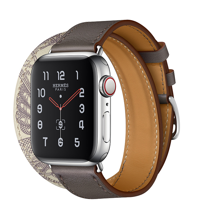 Apple Watch Hermes Series 5 40mm Etain/Beton with Leather Double Tour