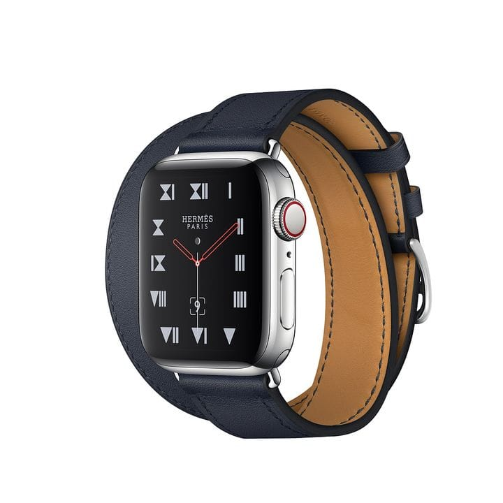 Умные часы Apple Watch Hermès Series 6 GPS + Cellular 40мм Stainless Steel Case with Navy Swift Leather Double Tour