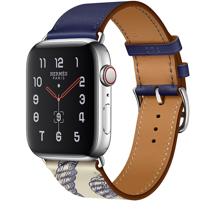 Apple Watch Hermes Series 5 44mm Encre/Beton with Leather Single Tour