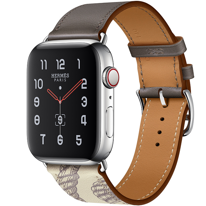 Apple Watch Hermes Series 5 44mm Etain/Beton with Leather Single Tour