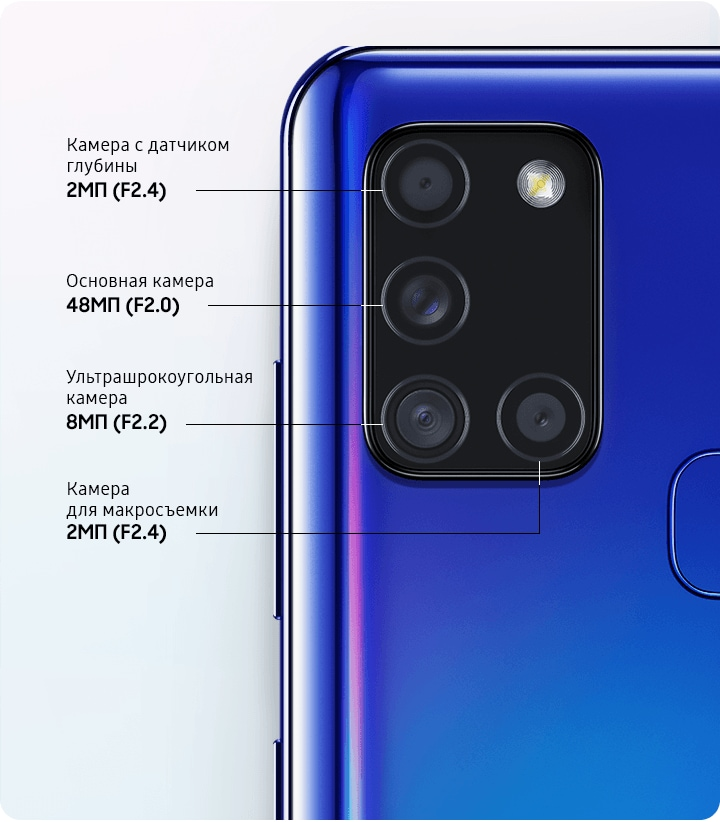 Samsung A21s камеры