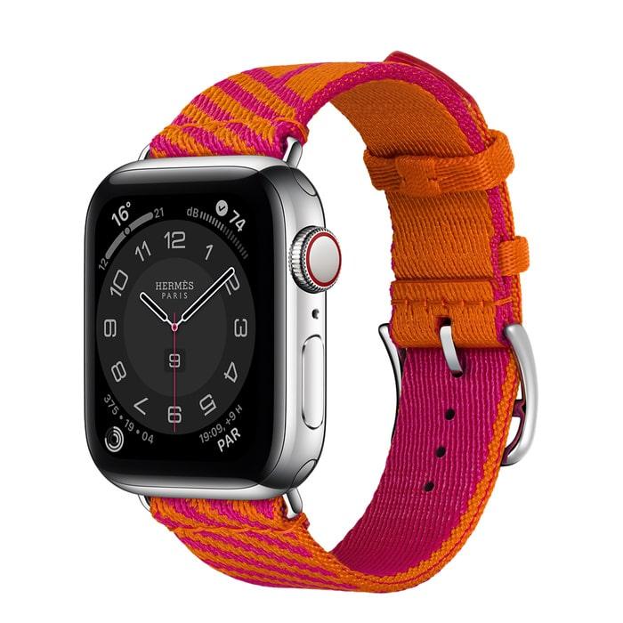 Apple Watch Hermes Series 6 40mm Stainless Steel GPS + Cellular Boîtier en acier inoxydable argent, Bracelet Simple Tour Jumping Orange/Rose Mexico